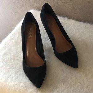 ALDO black suede heels- size 7.5